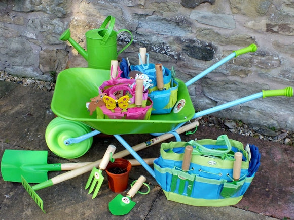 Kids Gardening tools and wheelbarrow