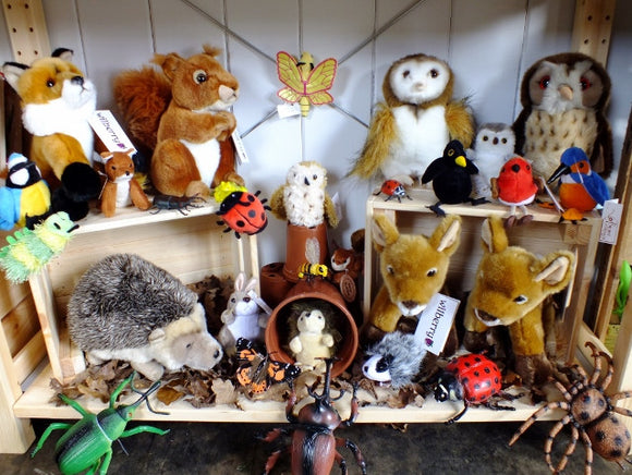 Animal soft toys, puppets and replica minibeasts.