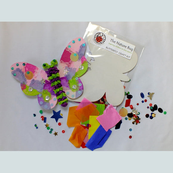 Craft kit to make a colourful butterfly containing blank template, coloured tissue and sequins.