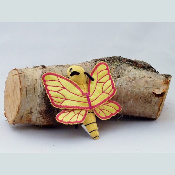 Butterfly finger puppet, yellow and pink.#