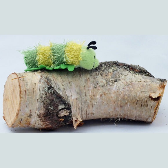 Caterpillar finger puppet.  Yellow and green striped.