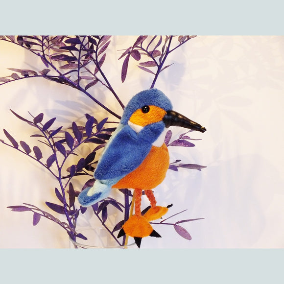 Kingfisher finger puppet, blue and orange with realistic markings.