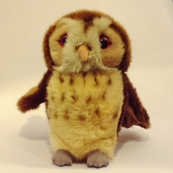Tawny owl soft toy made from lovely soft furry fabric.