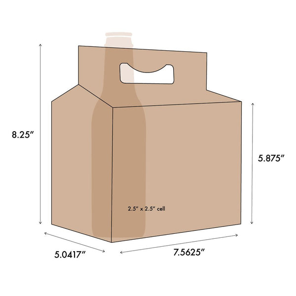 Kraft Paperboard Carton Carriers (6 pack) (150 units)