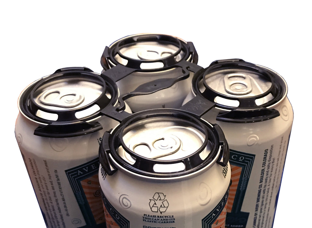 4 pack can ring holder made of plastic in black color