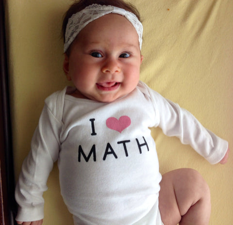"""I Love Math"" White Long Sleeved Onesie with Pink Heart"