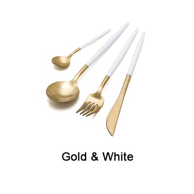 Noble White & Gold Cutlery Set