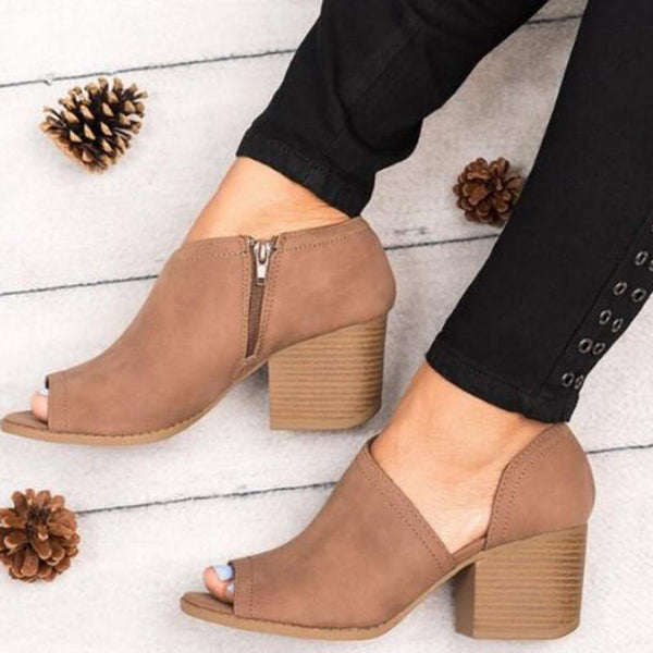 Avery Cutout Open Toe Wedges