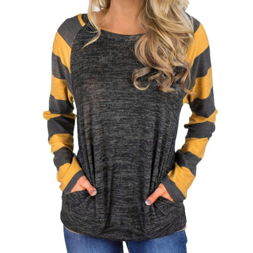 Hayden Striped Sleeve Pullover