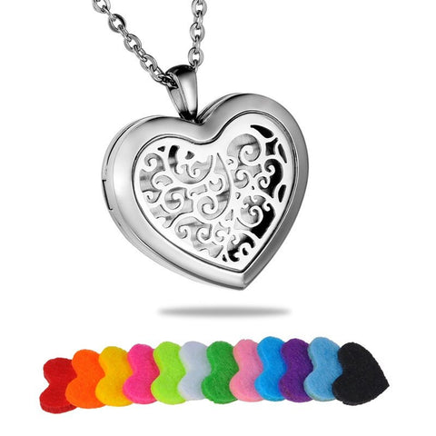Jewelry - Tree Of Life Stainless Steel Heart Essential Oil Diffuser Necklace - FREE SHIPPING