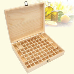 72-Slot Essential Oil Wooden Storage Box
