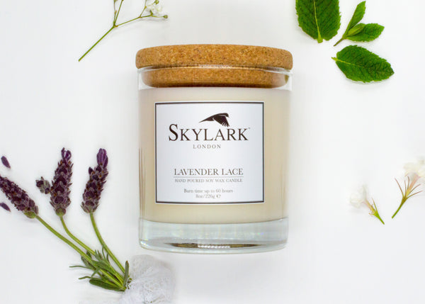 Skylark Candles, Hand poured Soy Candle - Lavender Lace