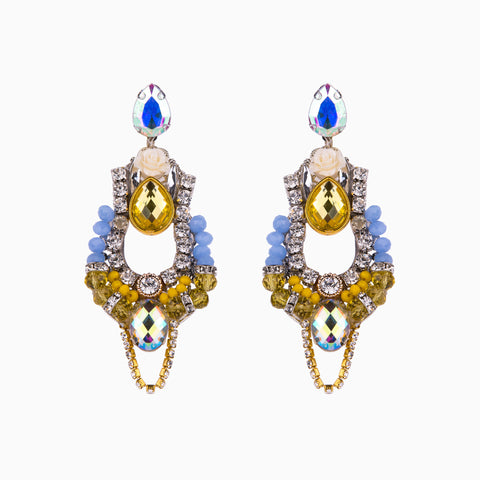 Crystal Yellow Statement Earrings