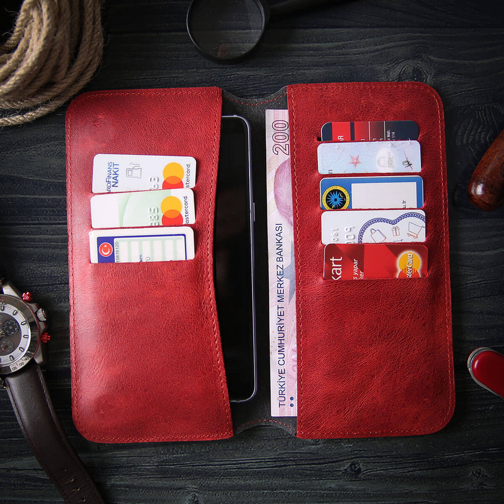 Phone case wallet - Maple Red