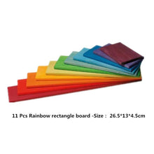 30% OFF - LIMITED TIME OFFER - 11Pcs Educational Rainbow Wooden Rectangle Building Boards - 26.5cm x 13cm x 4.5cm