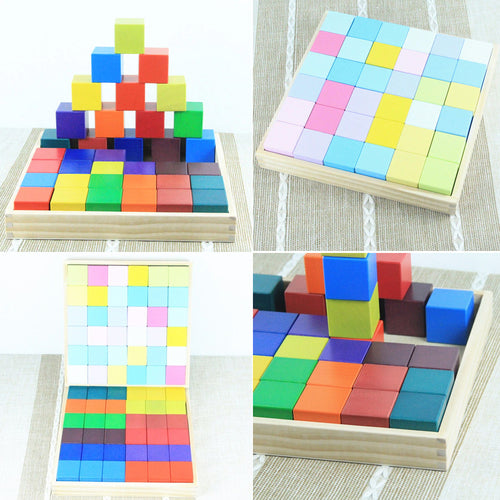 18% OFF - LIMITED TIME OFFER - 36Pcs Educational Rainbow Wooden Cube Building Blocks - 4cm x 4cm x 4cm