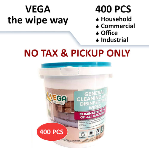 No Tax - Vega Household/Industrial Cleaning and Disinfecting Wipes - 400Pcs (Pickup Only)