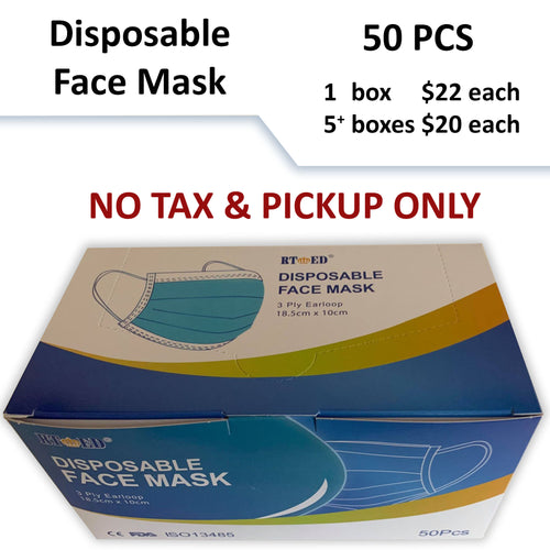 $20-$22 No Tax - Disposable Face Mask - 50pcs (Pickup Only)