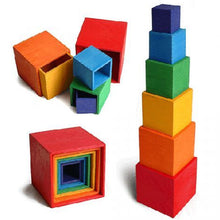 24% OFF - LIMITED TIME OFFER - 6Pcs Educational Rainbow Wooden Square Boxes - 16.2cm x 16.2cm x 16.2cm