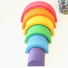 24% OFF - LIMITED TIME OFFER - 6Pcs Educational MINI Rainbow Wooden Building Blocks - 18.5cm x 9.5cm x 6.5cm