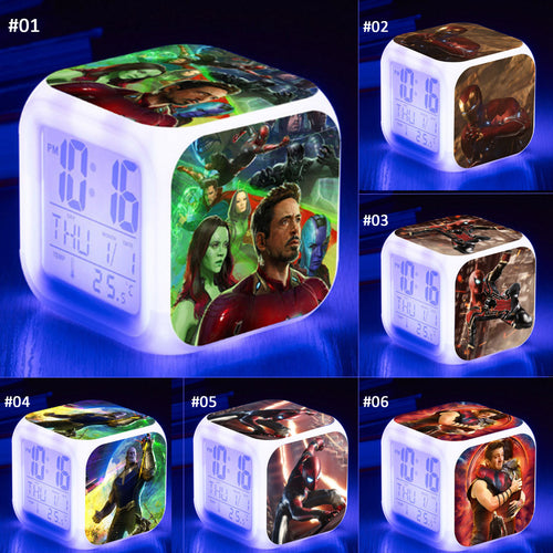 28% OFF LIMITED TIME OFFER - Avengers: Infinity War - Superheroe LED 7 Colours Changing Alarm Clock