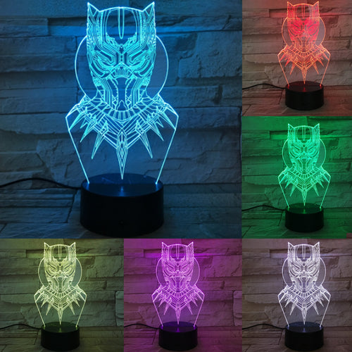 Black Panther 3D Optical Colour Changing Illusion Touch Control Light