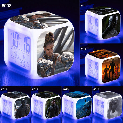 28% OFF LIMITED TIME OFFER - Black Panther LED 7 Colours Changing Alarm Clock