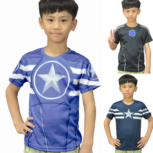 Kid's Superheros Fitness Compression Short Sleeve Shirt - Captain America & Iron Man