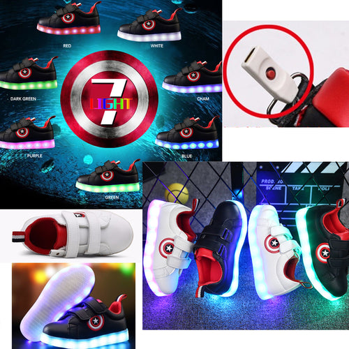 25% OFF LIMITED TIME OFFER - Kid's Captain America USB Charging 7 Colours LED Lights PU Leather Running Shoes