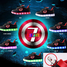 Kid's Captain America USB Charging 7 Colours LED Lights PU Leather Running Shoes