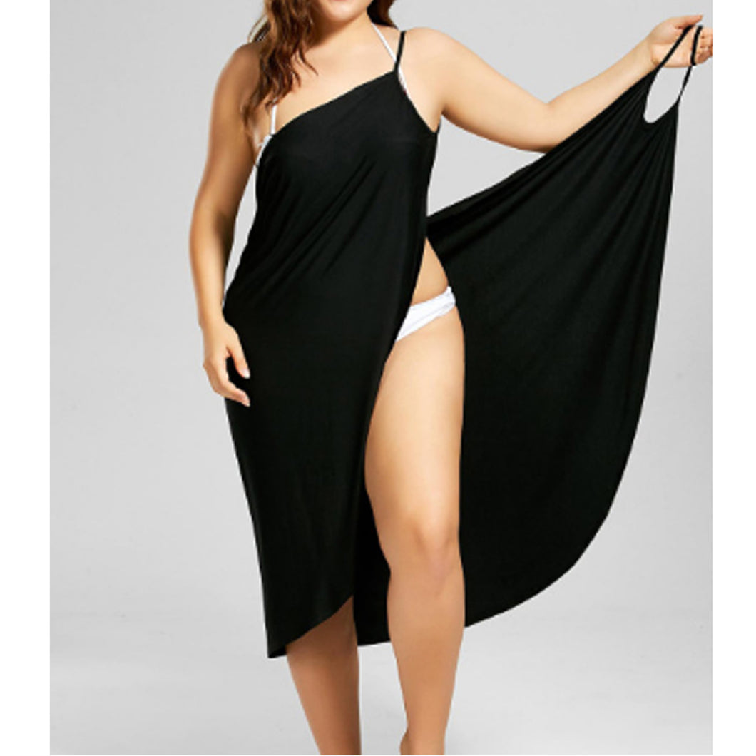 Cover-Up Backless Wrap Midi Dress - XL-5XL