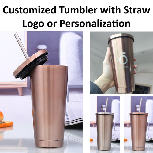 Custom Stainless Steel Laser Engraved Tumbler with Straw - 500ml
