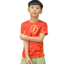 Kid's Superheros Fitness Compression Short Sleeve Shirt - Flash & Batman