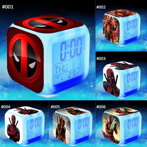 28% OFF LIMITED TIME OFFER - Deadpool Alarm Clock - LED 7 Colours Changing Alarm Clock
