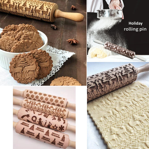 15% OFF - LIMITED TIME OFFER - Holiday Engraved Wooden Decorative Rolling Pin - 35 / 43cm