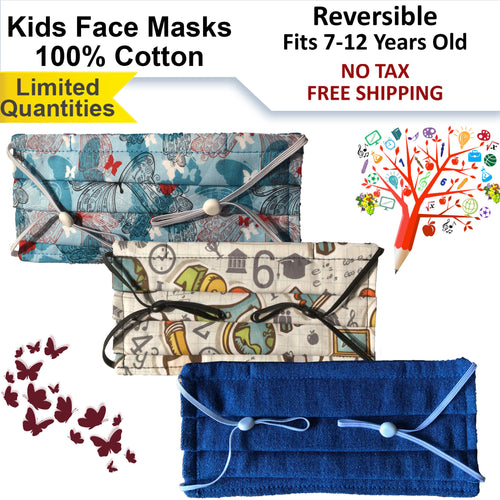 15% OFF - LIMITED QUANTITIES - 100% Cotton 3-Ply Reversible Kids Face Masks - Fit 7 to 12 Years Old