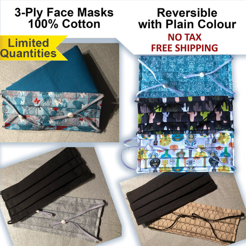 15% OFF - LIMITED QUANTITIES - 100% Cotton 3-Ply Reversible Adults Face Masks