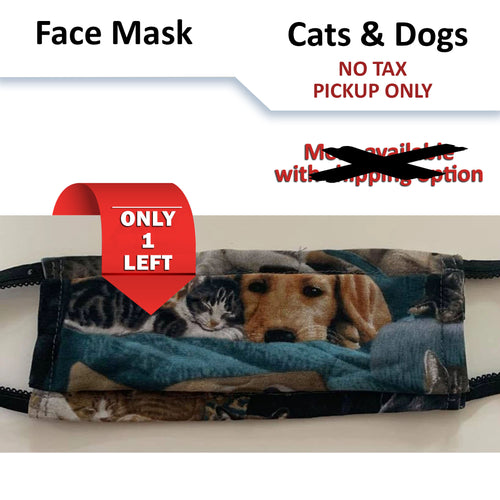 No tax - Cats and Dogs Pattern Face Mask (Pickup Only)