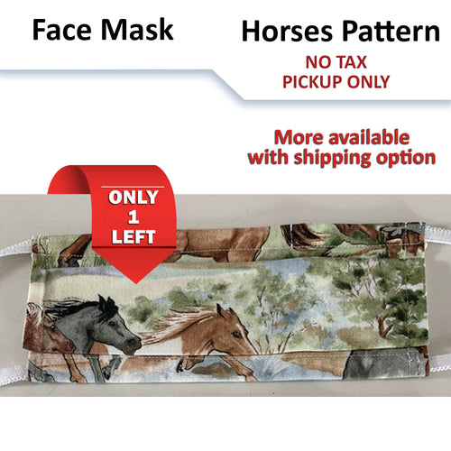 No tax - Horses Pattern Face Mask (Pickup Only)