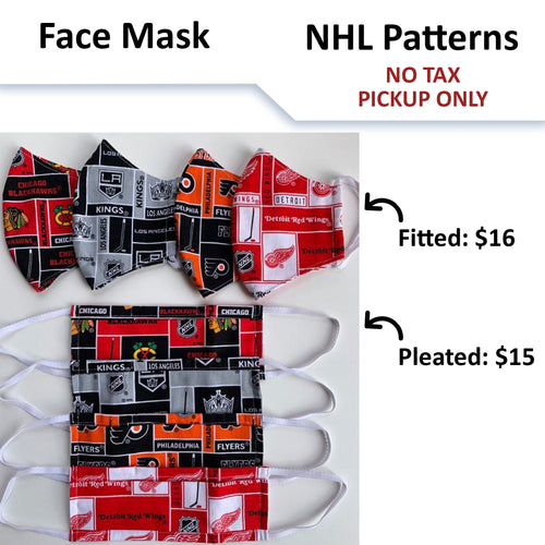 No Tax - NHL Hockey Team Face Mask - Licensed Fabric (Pickup Only)
