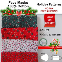 Made on Request - 100% Cotton Holiday Adults and Kids Face Masks - Holiday Designs