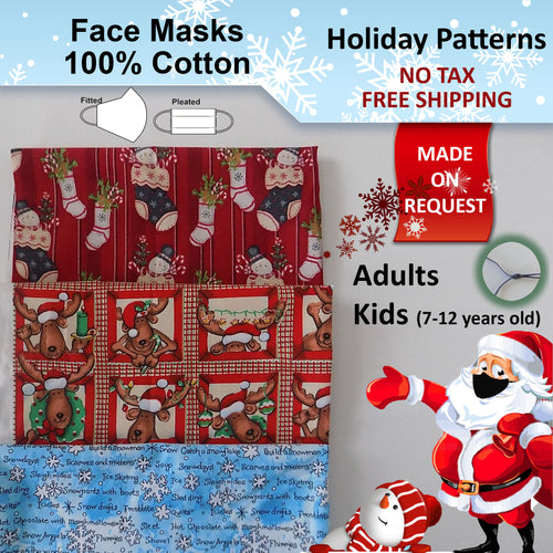 Made on Request - 100% Cotton Holiday Adults and Kids Face Masks