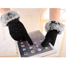 Faux Fur Cuff Rhinestones Gloves