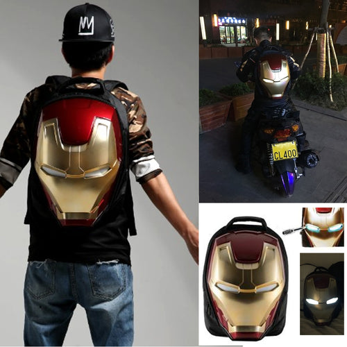 18% OFF - LIMITED TIME OFFER - Iron Man 3D Shaped LED Backpack