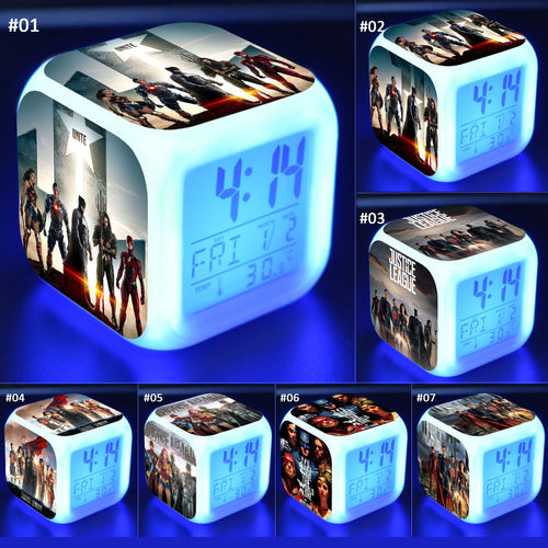 Justice League LED 7 Colours Changing Alarm Clock