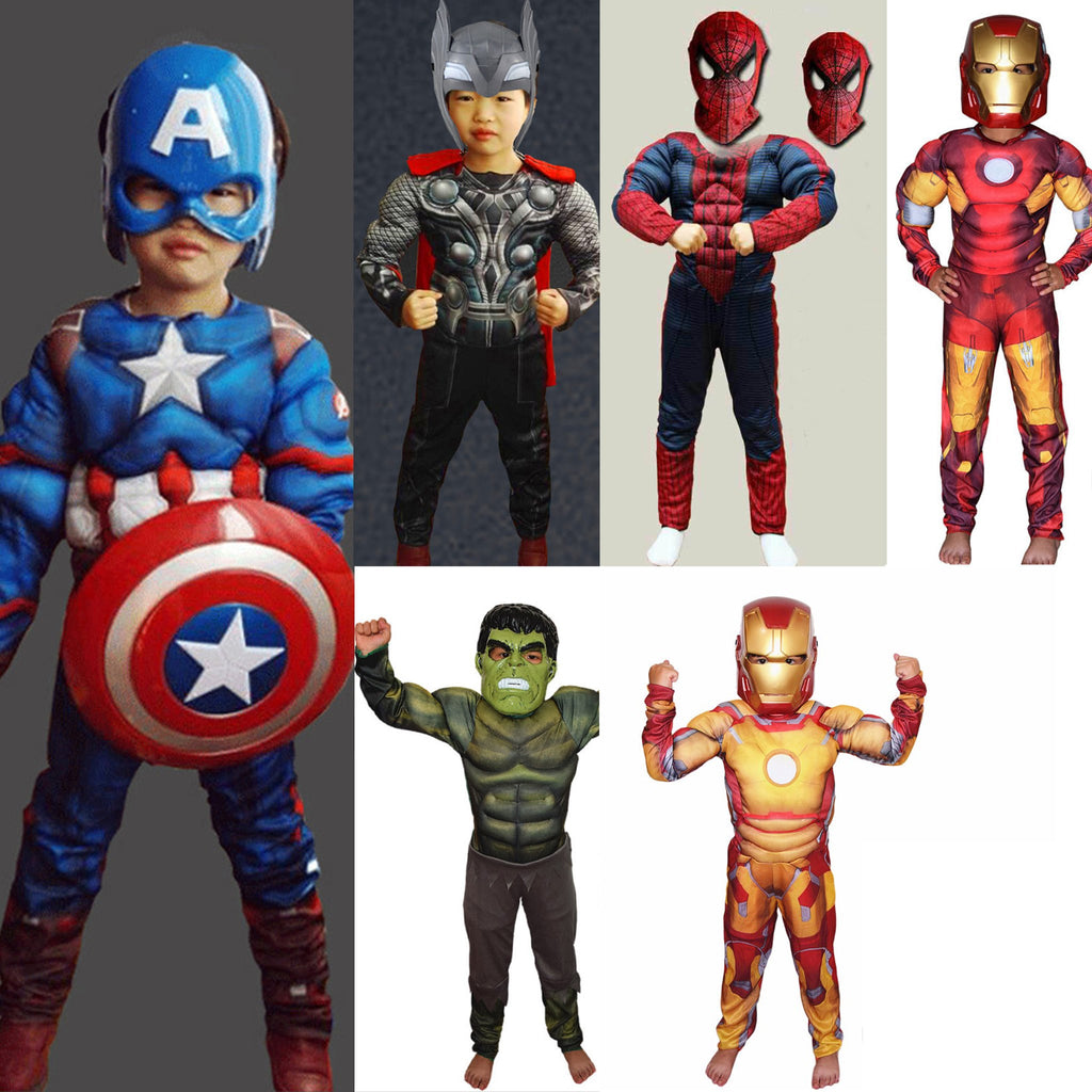 Kid S Muscle Costumes Captain America Iron Man Thor