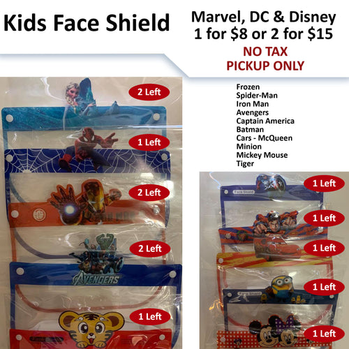 No Tax - $8 or 2 for $15 - Kids Face Shield (Pickup Only) - Limited Quantities