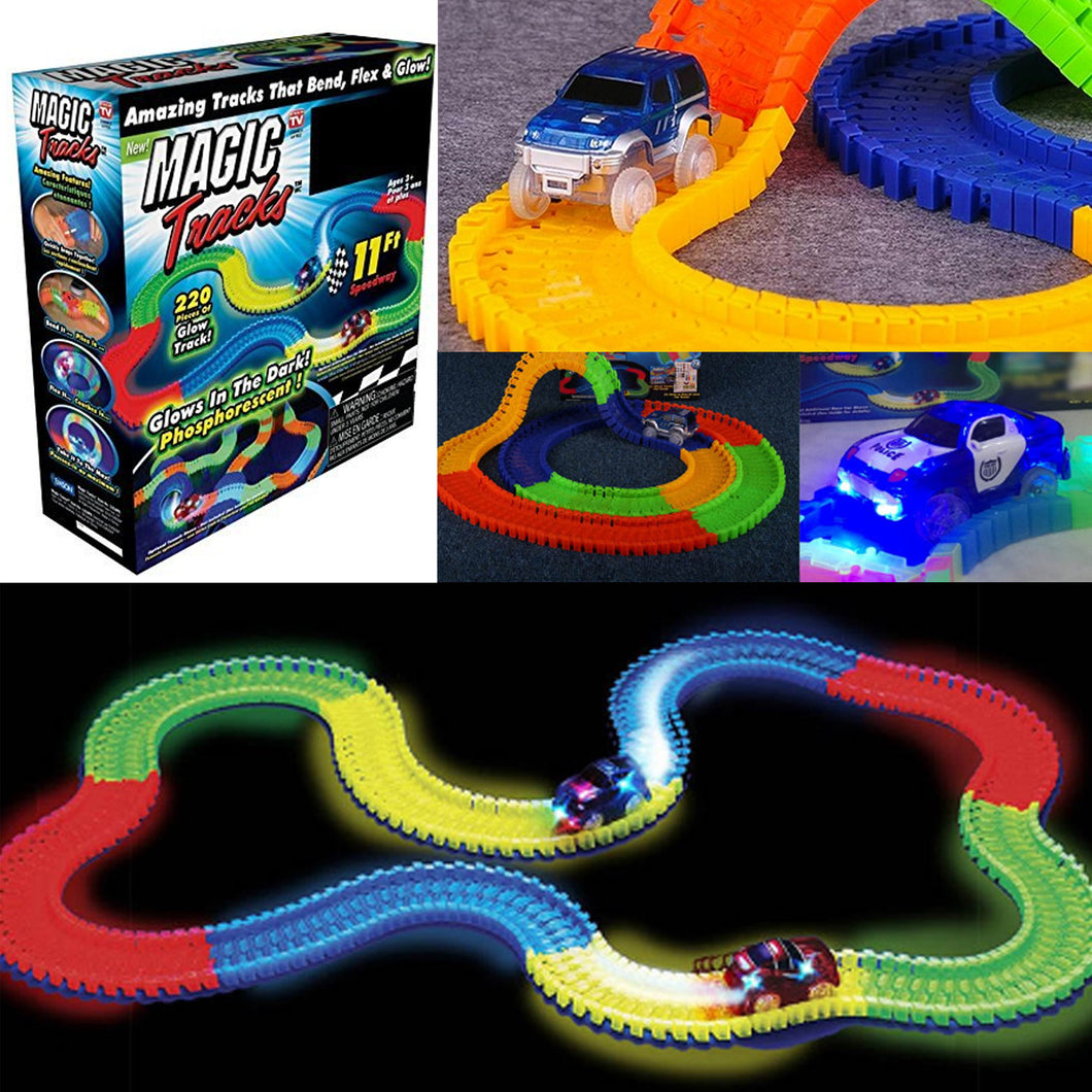 Magic Tracks Bend Flex, Glow in the Dark Car - 165, 220, 240 Pcs