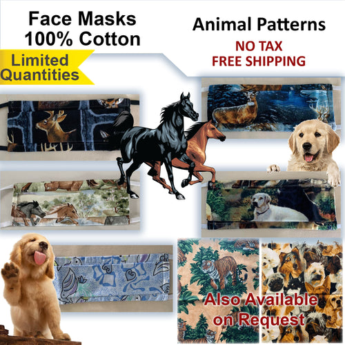 100% Cotton Animal Patterns Adults and Kids Face Masks - Horses, Dogs, Deer, Bird and Tiger