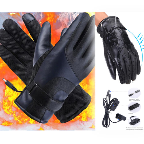 PU Leather Electric Gloves - 48V, 60V or 72V